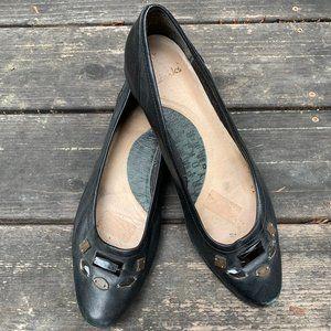 Clarks Black Leather Ballet Flats 10M